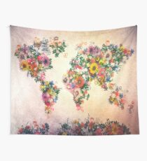 world map floral 4 Wall Tapestry