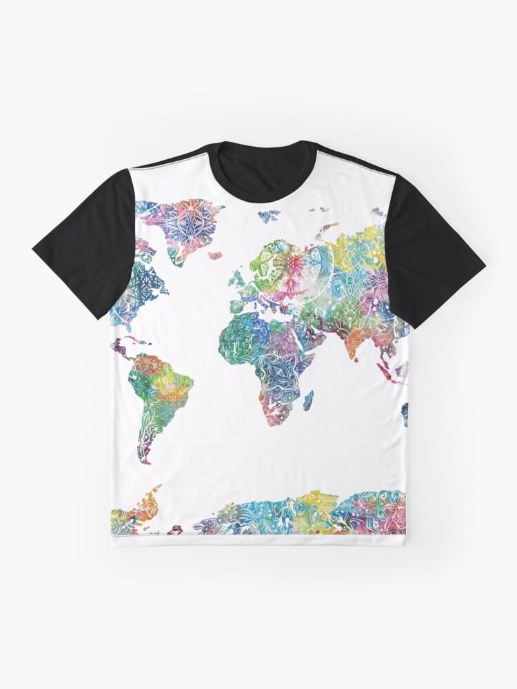 Alternative Ansicht von Weltkarte Mandala 6 Grafik T-Shirt