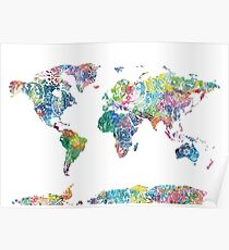 Floral world map posters redbubble world map mandala 6 poster gumiabroncs Image collections