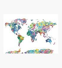 Weltkarte Mandala 6 Fotodruck