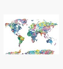 world map mandala 6 Photographic Print