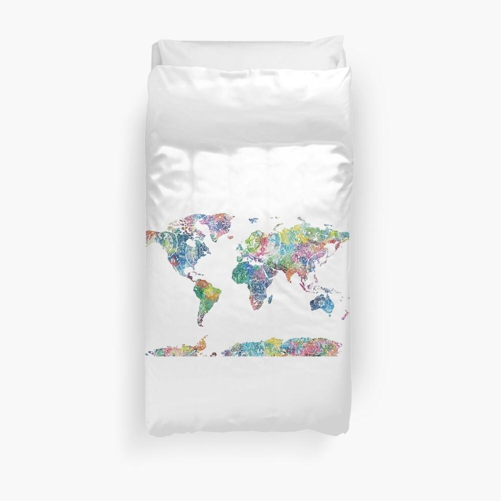 Weltkarte Mandala 6 Bettbezug