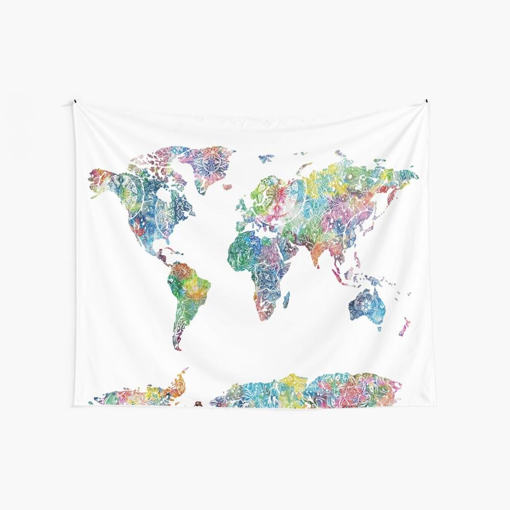 Weltkarte Mandala 6 Wandbehang