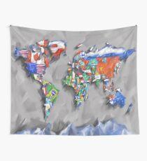 Weltkartenflaggen 3 Wandbehang