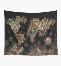 world map mandala gold Wall Tapestry