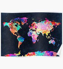 Póster Acuarela del mapa mundial 2