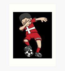 Denmark Football Dabbing Soccer Boy With National Flag Jersey Futbol Fan Shirt Art Print
