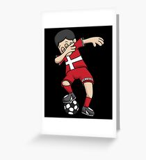 Denmark Football Dabbing Soccer Boy With National Flag Jersey Futbol Fan Shirt Greeting Card