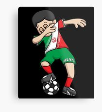 Iran Football Dabbing Soccer Boy With National Flag Jersey Futbol Fan Shirt Metal Print