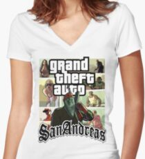 GTA SAN ANDREAS Women's Fitted V-Neck T-Shirt
