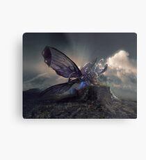 Schmetterling und die Raupe Metallbild