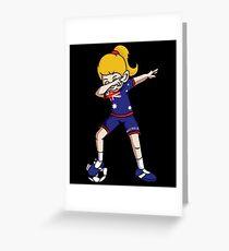 Australia Dabbing Soccer Girl With Soccer Ball And National Team Flag Football Fan Design Greeting Card