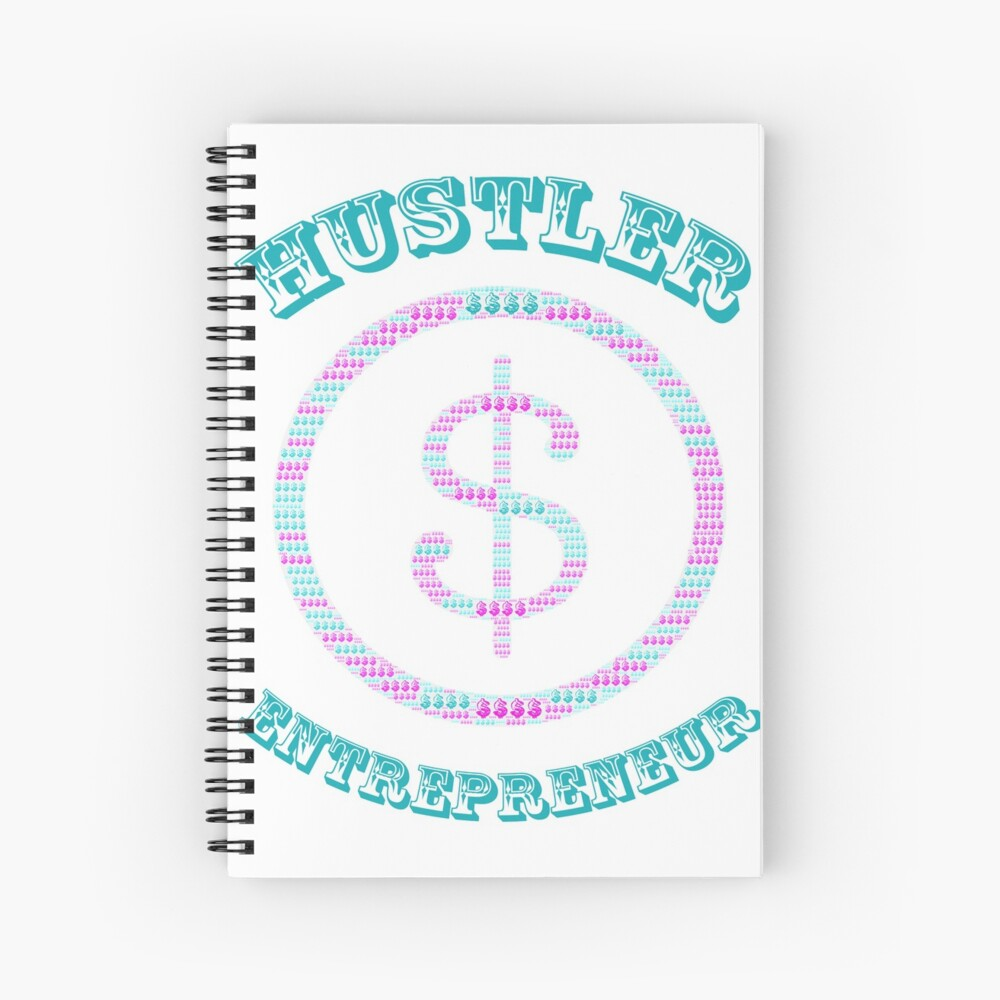 Hustler Entrepreneur with Multi-Color Dollar Sign  Spiral Notebook