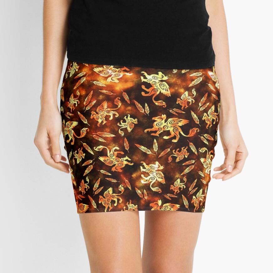 Gryphon Batik - Earth Tones Mini Skirt