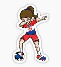 Croatia Dabbing Soccer Girl With Soccer Ball And National Team Flag Football Fan Design Sticker
