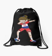 Croatia Dabbing Soccer Girl With Soccer Ball And National Team Flag Football Fan Design Drawstring Bag