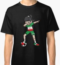 Iran Dabbing Soccer Girl With Soccer Ball And National Team Flag Football Fan Design Classic T-Shirt