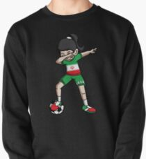 Iran Dabbing Soccer Girl With Soccer Ball And National Team Flag Football Fan Design Pullover