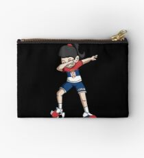Serbia Dabbing Soccer Girl With Soccer Ball And National Team Flag Football Fan Design Studio Pouch