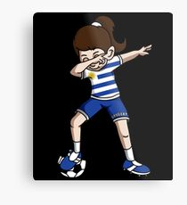 Uruguay Dabbing Soccer Girl With Soccer Ball And National Team Flag Football Fan Design Metal Print