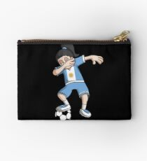 Argentina Football Dabbing Soccer Girl With Soccer Ball And National Flag Jersey Futbol Fan Design Studio Pouch