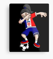 Croatia Football Dabbing Soccer Girl With Soccer Ball And National Flag Jersey Futbol Fan Design Metal Print