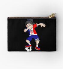Croatia Football Dabbing Soccer Girl With Soccer Ball And National Flag Jersey Futbol Fan Design Studio Pouch