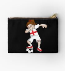 England Football Dabbing Soccer Girl With Soccer Ball And National Flag Jersey Futbol Fan Design Studio Pouch