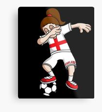 England Football Dabbing Soccer Girl With Soccer Ball And National Flag Jersey Futbol Fan Design Metal Print