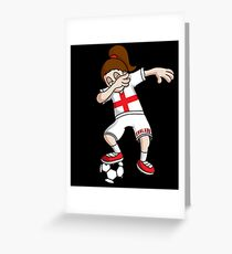 England Football Dabbing Soccer Girl With Soccer Ball And National Flag Jersey Futbol Fan Design Greeting Card