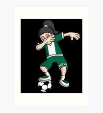 Nigeria Football Dabbing Soccer Girl With Soccer Ball And National Flag Jersey Futbol Fan Design Art Print