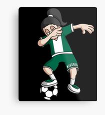 Nigeria Football Dabbing Soccer Girl With Soccer Ball And National Flag Jersey Futbol Fan Design Metal Print