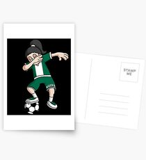 Nigeria Football Dabbing Soccer Girl With Soccer Ball And National Flag Jersey Futbol Fan Design Postcards