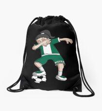 Nigeria Football Dabbing Soccer Girl With Soccer Ball And National Flag Jersey Futbol Fan Design Drawstring Bag
