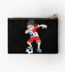Panama Football Dabbing Soccer Girl With Soccer Ball And National Flag Jersey Futbol Fan Design Studio Pouch