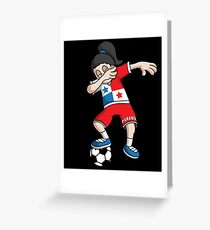 Panama Football Dabbing Soccer Girl With Soccer Ball And National Flag Jersey Futbol Fan Design Greeting Card