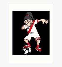 Peru Football Dabbing Soccer Girl With Soccer Ball And National Flag Jersey Futbol Fan Design Art Print