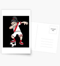 Peru Football Dabbing Soccer Girl With Soccer Ball And National Flag Jersey Futbol Fan Design Postcards