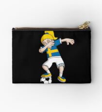 Sweden Football Dabbing Soccer Girl With Soccer Ball And National Flag Jersey Futbol Fan Design Studio Pouch