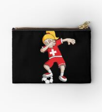 Switzerland Football Dabbing Soccer Girl With Soccer Ball And National Flag Jersey Futbol Fan Design Studio Pouch