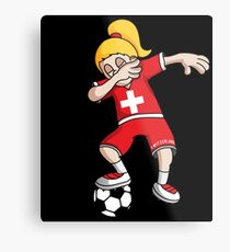 Switzerland Football Dabbing Soccer Girl With Soccer Ball And National Flag Jersey Futbol Fan Design Metal Print