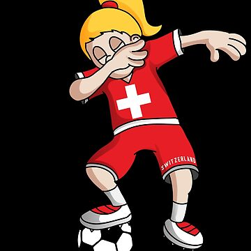 Switzerland Football Dabbing Soccer Girl With Soccer Ball And National Flag Jersey Futbol Fan Design by BzarDesigns
