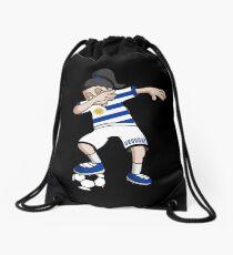 Uruguay Football Dabbing Soccer Girl With Soccer Ball And National Flag Jersey Futbol Fan Design Drawstring Bag