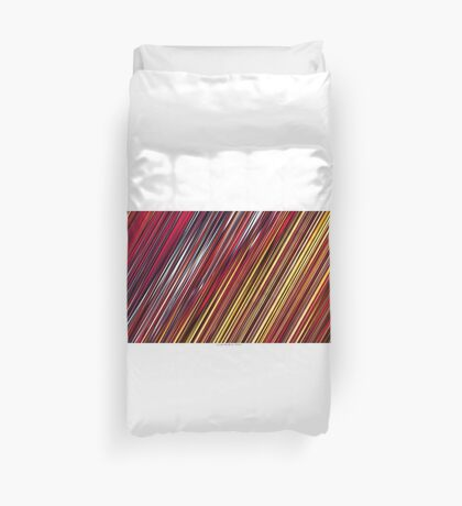 Color and Form Abstract - Striped Line Rain of Reds and Yellows Duvet Cover