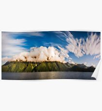 Amazing cloud formation at Lake Manapouri in New Zealand Poster