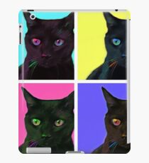 Black cat with color blocks iPad Case/Skin