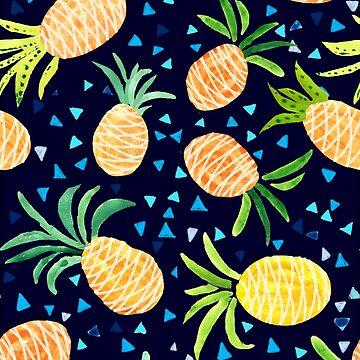 Watercolor Tropical Hawaiian Pineapple Pattern  by Jime-Creates