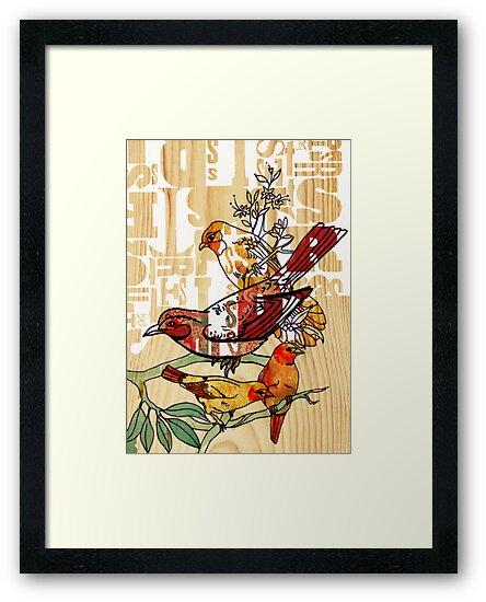 letterpress birds by Narelle Craven