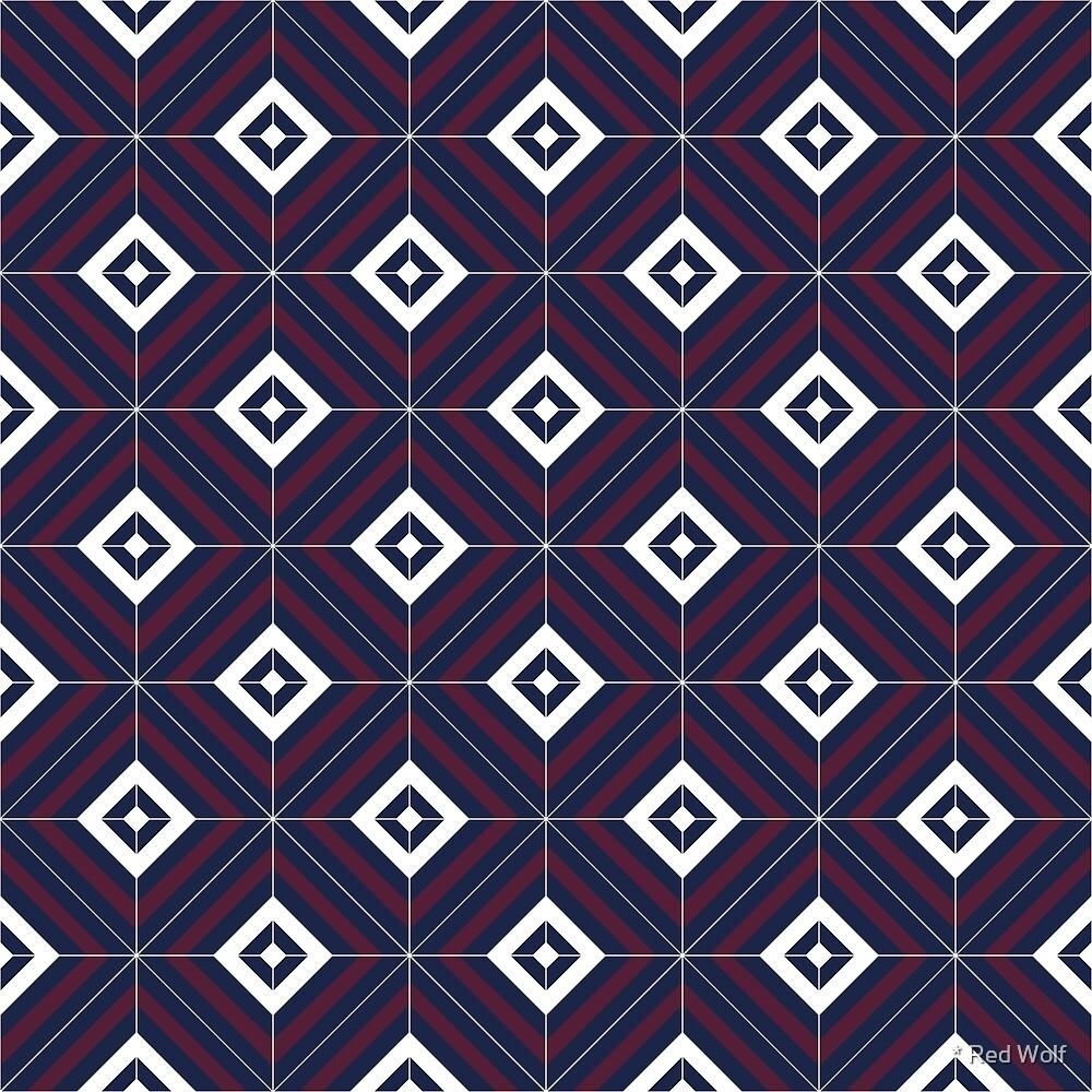 Geometric Pattern: Diamond Weave: Blue by * Red Wolf