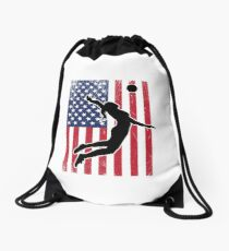 Volleyball USA Flag Womens Design Drawstring Bag 7db20a93d